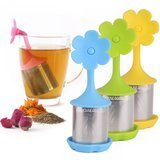 House Again Fine Mesh Tea Infuser with Drip Tray, Set of 4