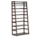 Simpli Home Acadian Solid Wood Ladder Shelf Bookcase