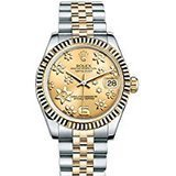 Rolex Datejust 31 Raised Floral Motif 18K