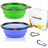 COMSUN Silicone BPA Free Collapsible Dog Bowls (Set of 2)
