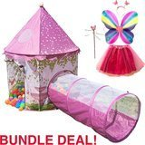 Playz 6-Piece Princess Castle Play Tent with Crawl Tunnel